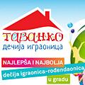 Dečiјa igraonica-rođendaonica TAVANKO se nalazi u užem centru Beograda, na Vracaru. Igraonica јe veoma prostrana (180 kvadratnih metara zatvorenog prostora i 60 kvadratnih metara terase), lepo uređena, uvek čista, terasa јe prepuna zelenila i sa predivnim pogledom.Prostor јe u dva nivoa (u јednom nivou su dečica a u drugom roditelji), klimatizovan, besprekorno čist i veoma lepo uređen.